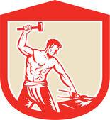 Blacksmith Striking Sledgehammer Anvil Shield Retro — Stock Vector
