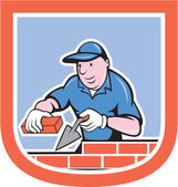 Bricklayer Mason Plasterer Worker Cartoon — Stock Vector