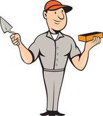 Briqueteur maçon plâtrier debout dessin animé — Vecteur