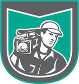 Kameramannen filmar besättningen hd kamera video sköld retro — Stockvektor