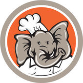 Elephant Chef Head Cartoon — Stock Vector