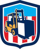 Forklift Truck Materials Logistics Shield Retro — Stock Vector