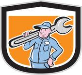 Plumber Holding Wrench Shield Cartoon — Vector de stock