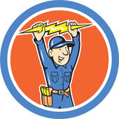 Thunderbolt Toolman Electrician Lightning Bolt Cartoon — Stock Vector