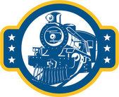 Steam Train Locomotive Front Retro — Stock Vector
