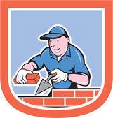 Bricklayer Mason Plasterer Worker Cartoon — Stock Vector