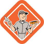 Bricklayer Mason Plasterer Standing Shield Cartoon — Stock Vector