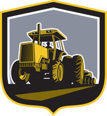 Farmer Driving Vintage Farm Tractor Plowing Retro — Stock Vector