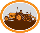 Vintage Farm Tractor Farmer Plowing Oval Retro — Stock Vector