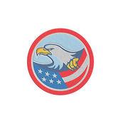 Metallic American Bald Eagle Clutching Flag Circle Retro — Stock Photo