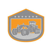 Metallic Road Grader Shield Retro — Stock Photo
