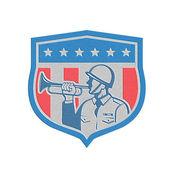 Metallic Soldier Blowing Bugle Crest Stars Retro — Foto de Stock