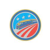 Metallic Steam Train Locomotive Retro Shield — Stockfoto