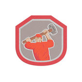 Metallic Union Worker Striking Smashhammer Shield Retro — Stock Photo