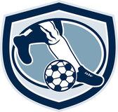 Leg Foot Kicking Soccer Ball Shield Retro — Stock Vector