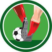 Foot Kicking Soccer Ball Retro — Vetor de Stock