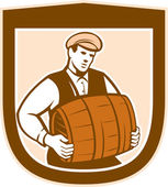 Bartender Carrying Keg Shield Retro — Stock Vector