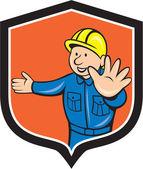 Carpentiere generatore le mani fuori dei cartoni animati — Vettoriale Stock