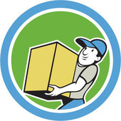 Delivery Worker Carrying Package Cartoon — Stock Vector