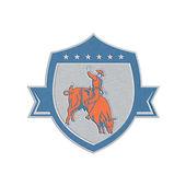 Metallic Rodeo Cowboy Bull Riding Retro Shield — Zdjęcie stockowe