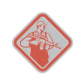 Metallic Soldier Serviceman Military Assault Rifle Shield Retro — Stock Photo