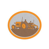Metallic Vintage Farm Tractor Farmer Plowing Oval Retro — Stock Photo
