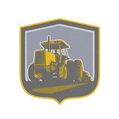 Metallic Farmer Driving Vintage Farm Tractor Plowing Retro — Stock Photo
