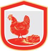 Hen Chicken Nest Egg Shield Retro — Stock Vector