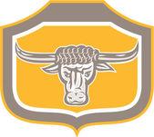 Bull Head Snorting Shield Retro — Stock Vector
