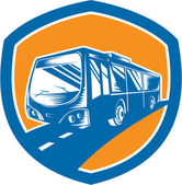 Tourist Coach Shuttle Bus Shield Woodcut — Stok Vektör