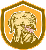 Labrador Dog Head Shield Woodcut — Stock Vector
