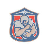 Metallic American Football Holding Ball Shield Retro — Stock Photo