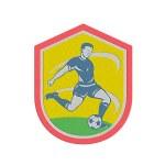 Metallic Soccer Player Kicking Ball Retro — Stock Photo #48463339