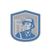 Metallic Power Lineman Repairman Shield Retro — Stock Photo