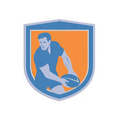 Metallic Rugby Player Passing Ball Shield Retro — Stock Photo
