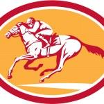 Jockey Riding Horse Racing Circle Retro — Stock Vector #48580395