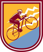 Cyclist Riding Mountain Bike Uphill Retro — Vector de stock