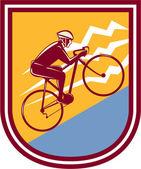 Cyclist Riding Mountain Bike Uphill Retro — Vecteur