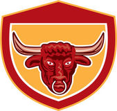 Bull Head Front View Crest Retro — Stock Vector