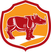 Rhinoceros Standing Shield Retro — Stock Vector
