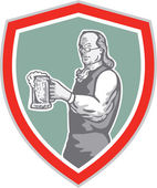 Benjamin Franklin Holding Beer Shield Retro — Vetorial Stock