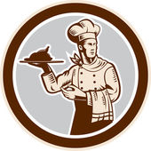 Chef Cook Serving Food Platter Circle Retro — Stock Vector
