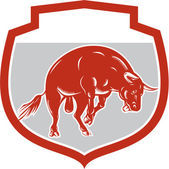 Raging Bull Jumping Attacking Charging Retro — Stock Vector