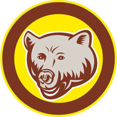 Grizzly Bear Head Circle Retro — Stock Vector