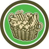 Crop Harvest Basket Circle Retro — Vector de stock