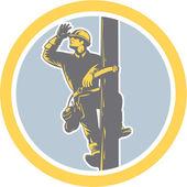 Power Lineman Telephone Repairman Looking Saluting Retro — Stock Vector
