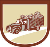 Vintage Pickup Truck Delivery Harvest Shield Retro — Stock Vector