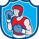 Amateur Boxer Stance Shield Cartoon — Stock Vector #48704965