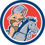Native American Indian Chief Riding Horse Cartoon — Stock Vector #48704999