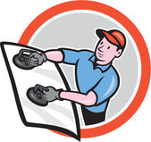 Automotive Glass Installer Front Circle Cartoon — Vecteur